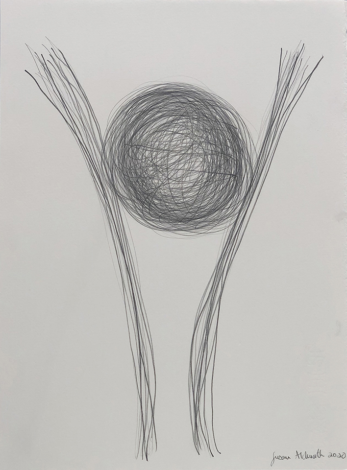 <strong>Grief drawing 1 – Slipping Away</strong>, Susan Aldworth, pencil on watercolour paper, 38 x 27 cms, 2020.