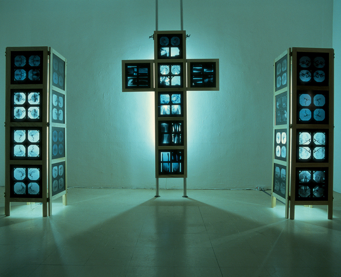 <strong>Hinged Crucifix and plinths</strong>, Susan Aldworth, sculpture of cerebral angiograms, 2002. Photograph at Whitechapel Gallery, London by Brian Campbell.
