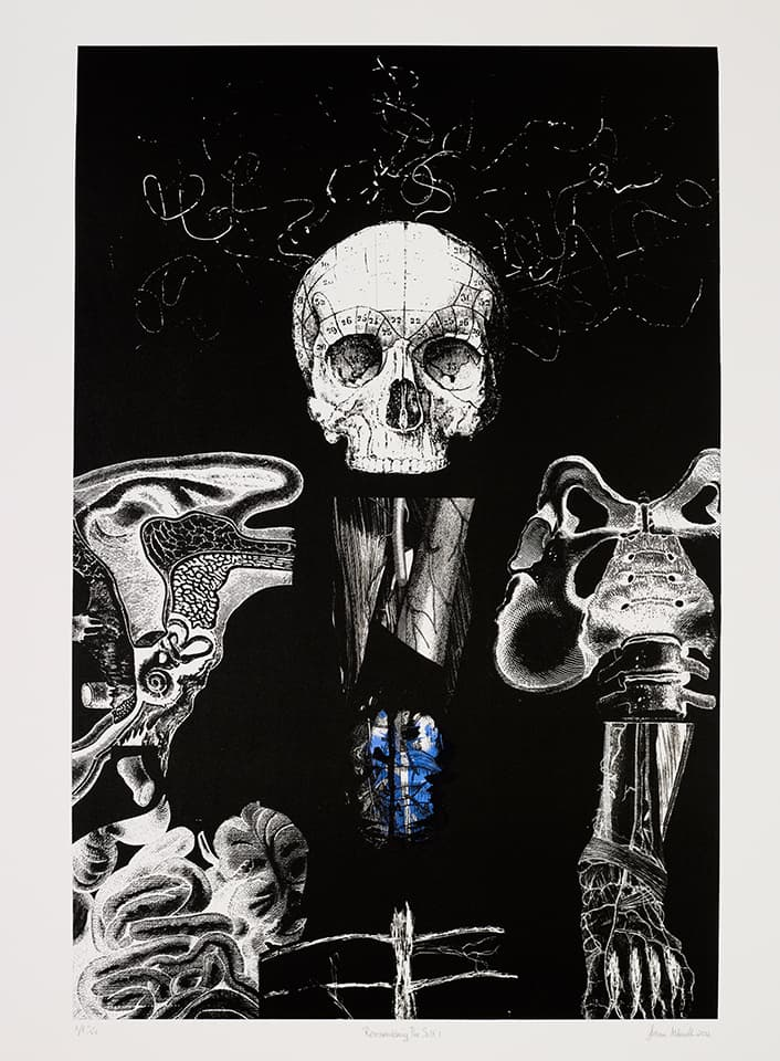 <strong>Reassembling the Self 1</strong>, Susan Aldworth, lithograph, 84 x 56 cms, 2012. Photograph by Anna Arca.