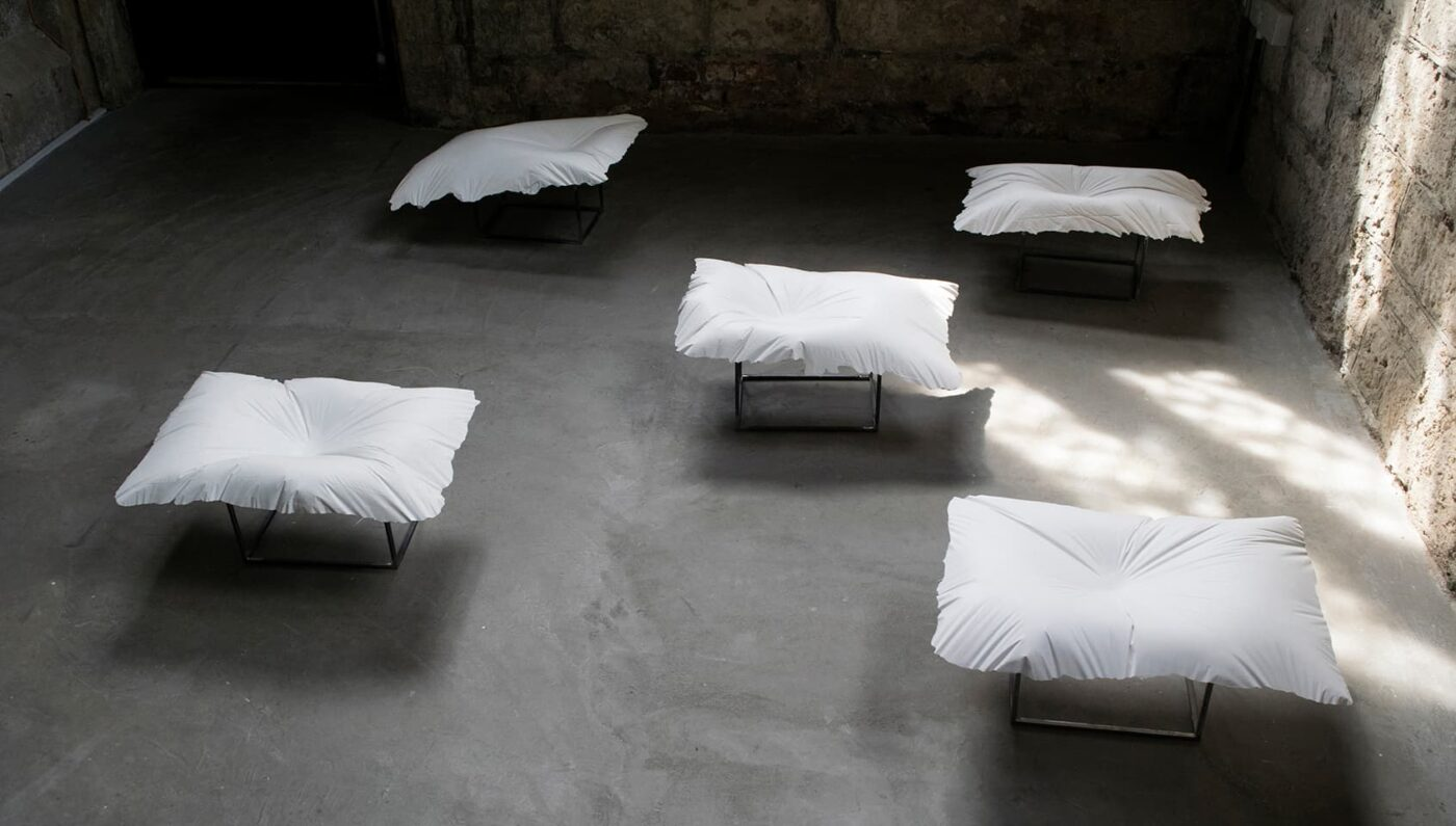 <strong>Evidence of Sleep III</strong>, installation of 5 plaster pillows, Susan Aldworth, 2017. Photograph by Paul Hughes.