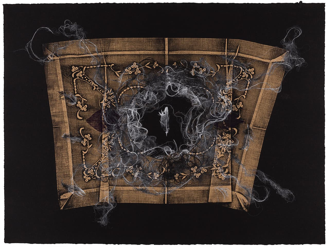 <strong>Golden Slumbers 6</strong>, Susan Aldworth, monoprint, 56 x 76 cms, 2017. Photograph by Peter Abrahams.