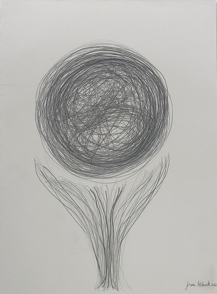 <strong>Grief drawing 2 – Floating Away from Me</strong>, Susan Aldworth, pencil on watercolour paper, 38x27cms, 2020.