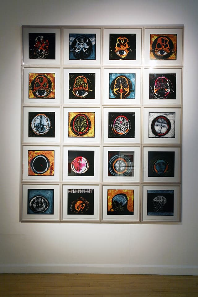 <strong>Cogito Ergo Sum 3</strong>, installation of 20 archival digital prints, Susan Aldworth, 2002. Photograph at Customs House by Jill Sheridan.
