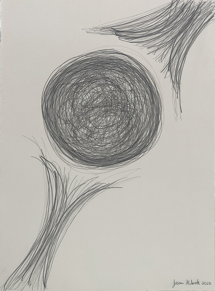 <strong>Grief drawing 3 – Betwixt and Between</strong>, Susan Aldworth, pencil on watercolour paper, 38x27cms, 2020.