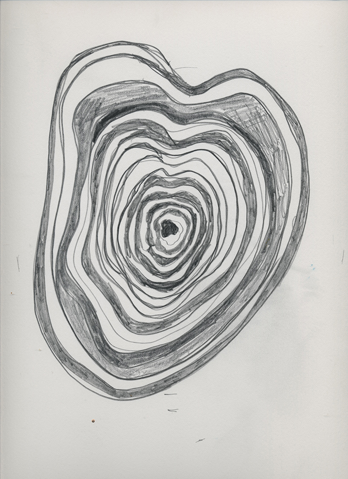 <strong>Grief drawing 4 – Your Big Lovely Heart</strong>, Susan Aldworth, pencil on watercolour paper, 38x27cms, 2020.