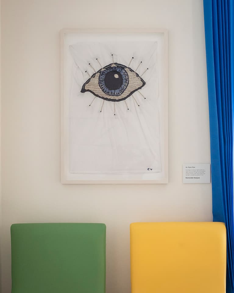 <strong>An Open Eye</strong>, pillowcase embroidered by health worker Esmeralda Vasquez as part of the participation between artist, patients and staff for the Sleep Disorders Centre commission. Photograph by Jim Stephenson at Guy's Hospital 2017.