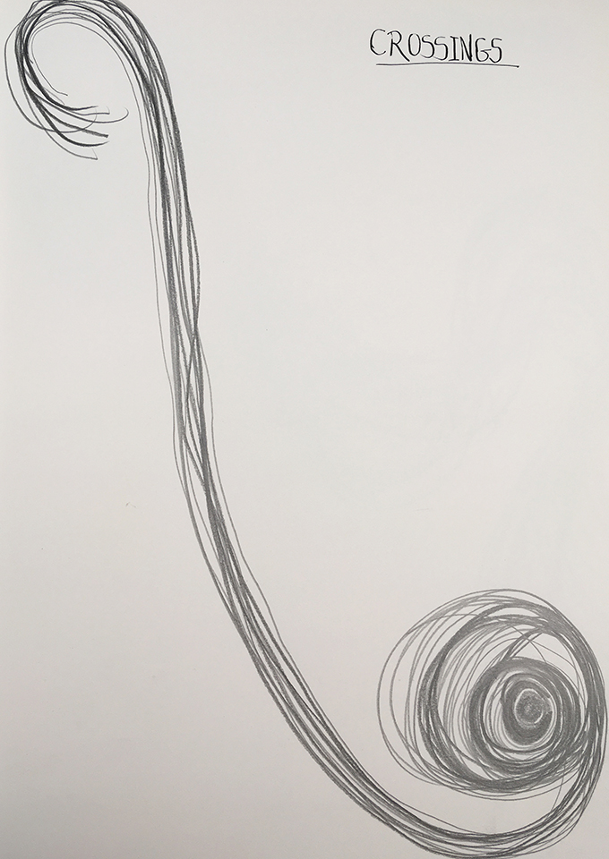 <strong>Grief drawing 5 – Crossings</strong>, Susan Aldworth, pencil on watercolour paper, 38x27cms, 2020.