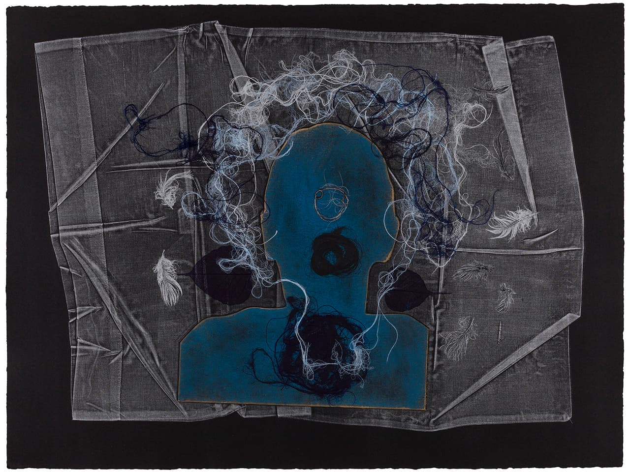 <strong>The Dark Self 14</strong>, Susan Aldworth, monoprint, 56 x 76 cms, 2017. Photograph by Peter Abrahams.