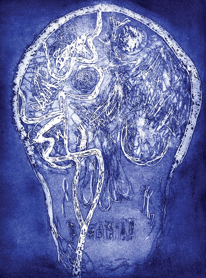 <strong>Brainscape 5</strong>, Susan Aldworth, etching and aquatint, 30 x 35 cms, 2005.