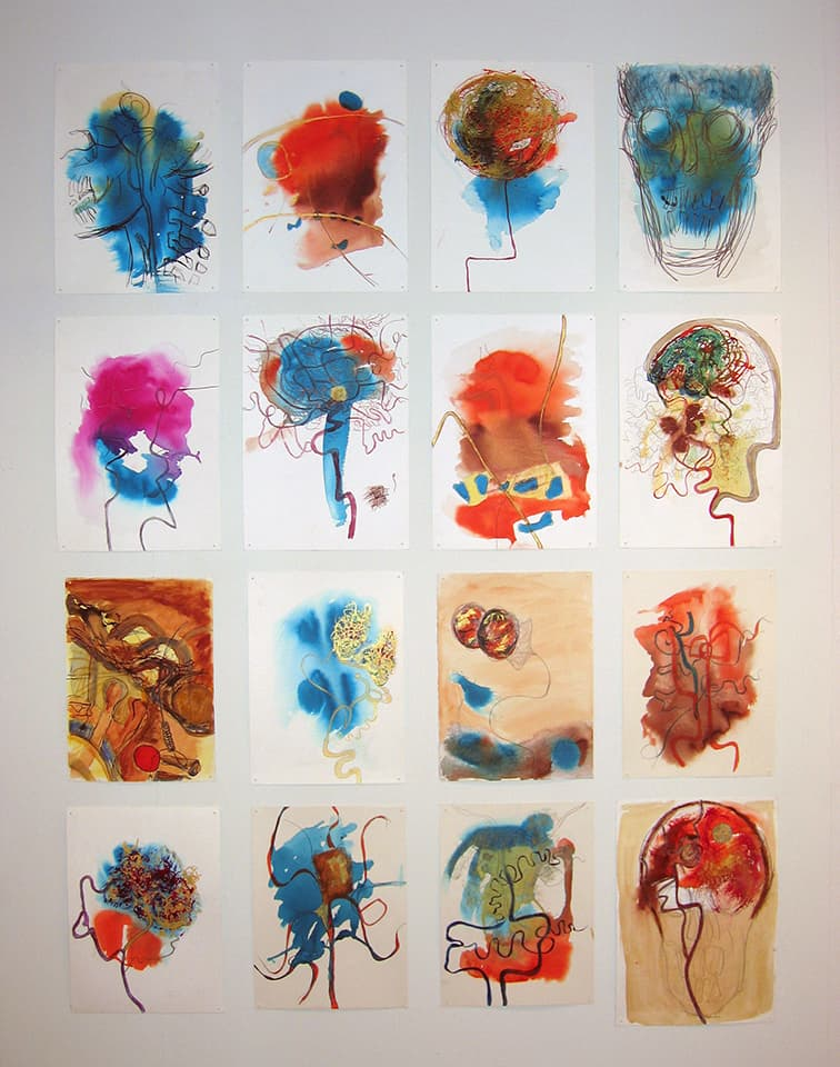 <strong>Drawings from neuroradiology department at Royal London Hospital 2000-06</strong>, Susan Aldworth. Installation at Transition Gallery, London, 2008.