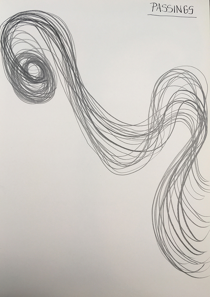 <strong>Grief drawing 6 – Passings</strong>, Susan Aldworth, pencil on watercolour paper, 38x27cms, 2020.