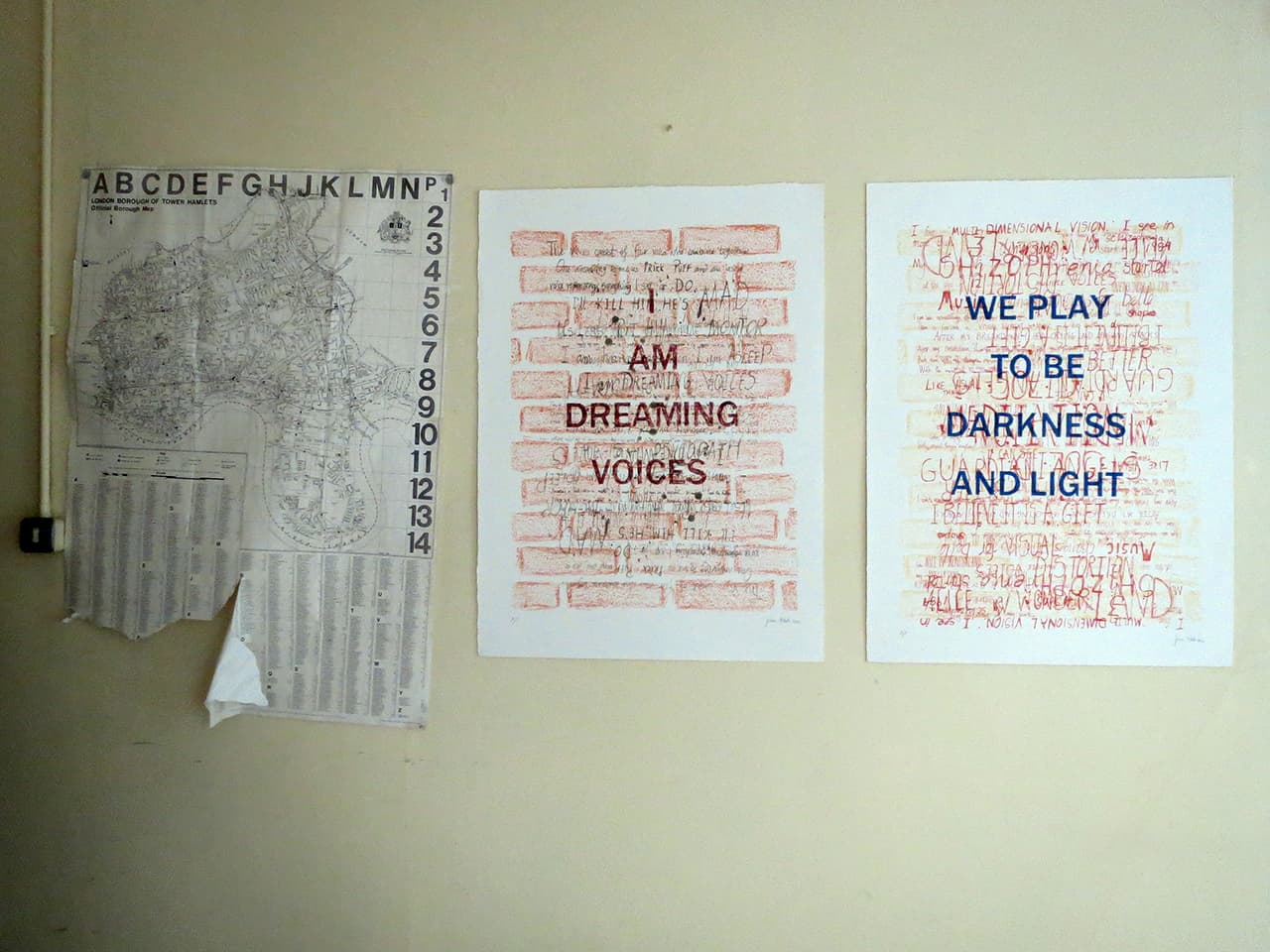 <strong>Dreaming Voices 1 & 2</strong>, installation by Susan Aldworth at St Clement's Hospital, lithographs, 82 x 60 cms each, 2012.