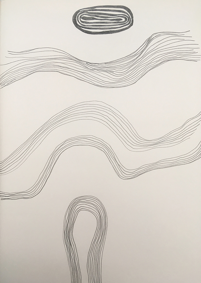 <strong>Grief drawing 7 – Passage</strong>, Susan Aldworth, pencil on watercolour paper, 38x27cms, 2020.