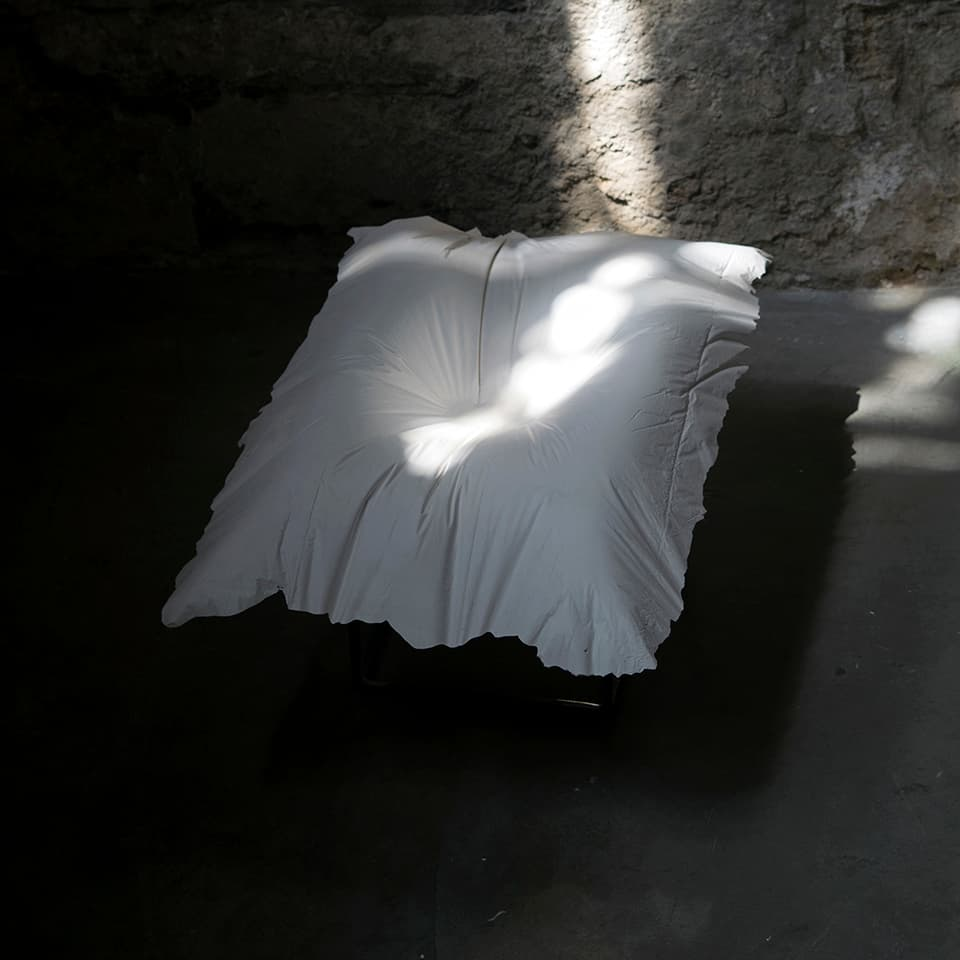 <strong>Evidence of Sleep III</strong>, (detail) installation of 5 plaster pillows, Susan Aldworth, 2017. Photograph by Paul Hughes.