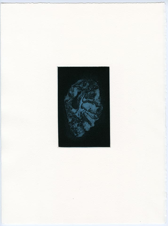 <strong>Transience 3</strong>, Susan Aldworth, etching and aquatint, 15 x 9 cms, 2013.