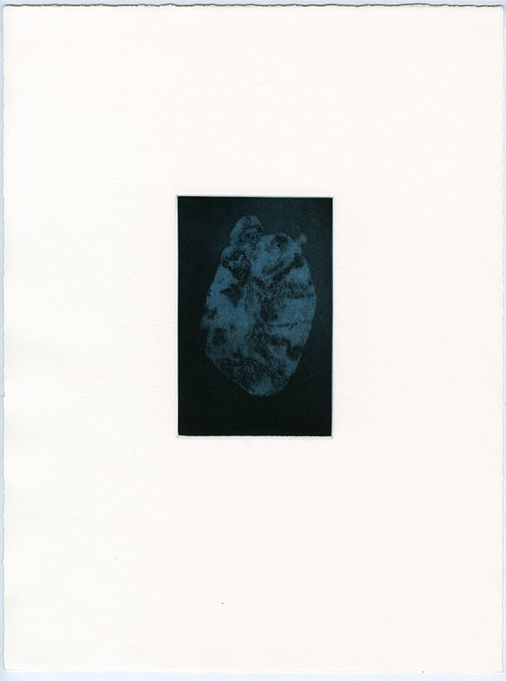 <strong>Transience 4</strong>, Susan Aldworth, etching and aquatint, 15 x 9 cms, 2013.