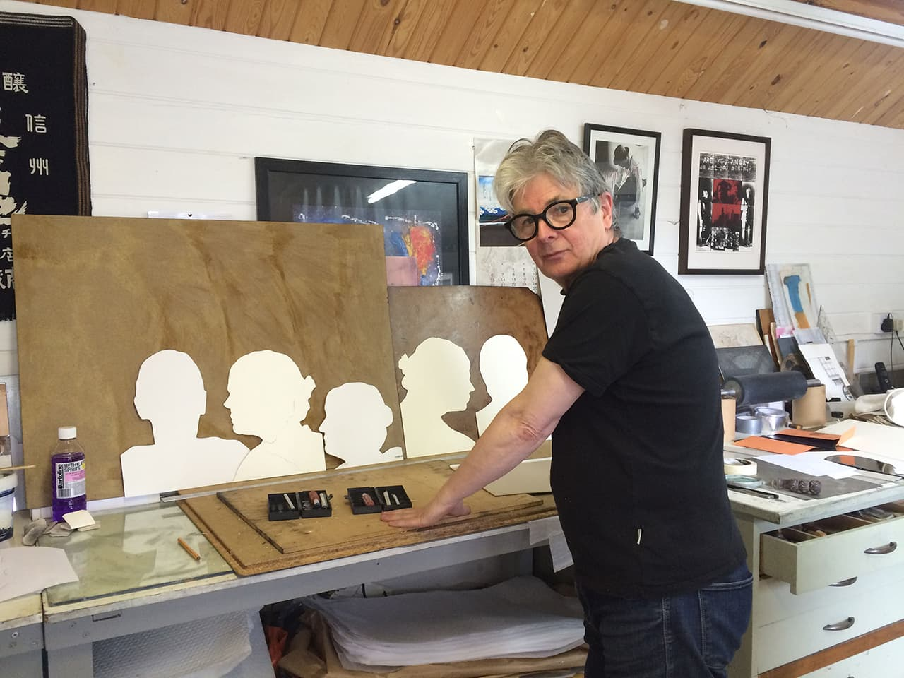 Nigel Oxley working on The Dark Self prints in his studio in Bexhill, 2016.